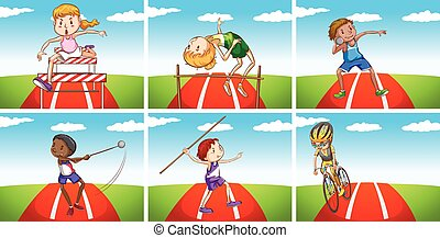 Athletes doing different sports in the field