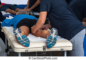 Athlete's Muscles Massage after Sport Workout