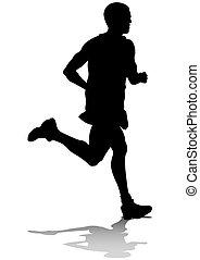 Athletes run man - Silhouette of man athletes on running...