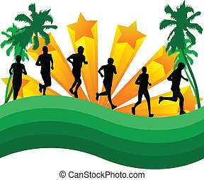 Athletes runners-abstract background with palm trees