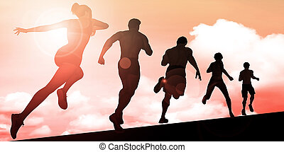 Athletes Running During Sunset with Silhouette Illustration