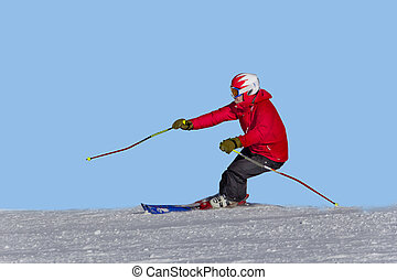 athletes skiing in mountains