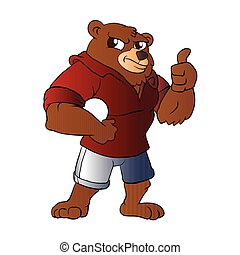 athletic Bear holding a ball. vector illustration.