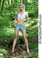 Athletic bright blonde with cowboy hat