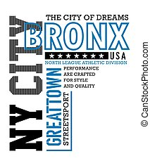 Athletic Bronx typography design t-shirt graphic, vector...