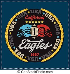 Athletic champions college varcity Eagles football logo emblem. Vector Graphics and typography t-shirt design