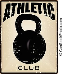 Athletic Club - Old card sports club with weights and text....