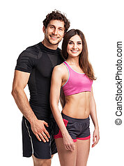 Athletic couple after fitness exercise on the white