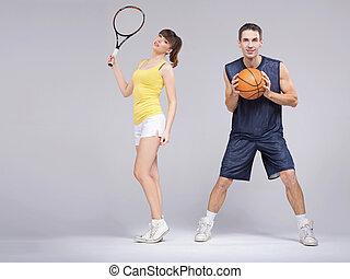 Athletic couple during the training