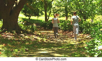 Athletic couple jogging in a wood