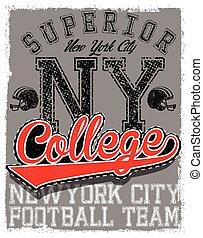 Athletic Dept. New york; Varsity Sport vector print and...