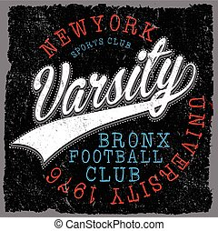 Athletic Dept. New york; Varsity Sport vector print and ...