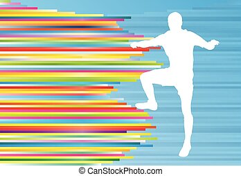 Athletic exercise man stretching warm up vector background