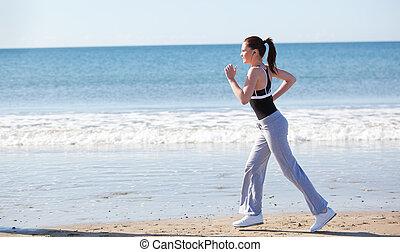 Athletic female running