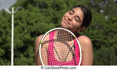 Athletic Female Teenage Tennis Player Daydreaming