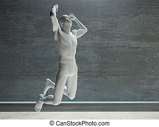 Athletic Figure in White