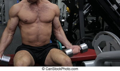 Athletic guy in the gym doing exercises with dumbbells. He sits on the bench and rhythmically flexes and extenses arms, on which the veins swell. These exercises help to work your biceps and triceps. This guy is engaged in bodybuilding. Strength training has become an integral part of his daily life...
