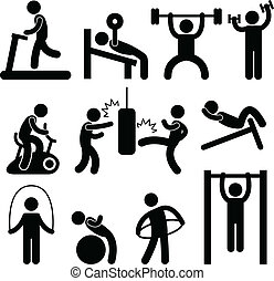 Athletic Gym Gymnasium Exercise - A set of human figure...