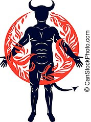 Athletic horned man surrounded by a fireball. Vector illustration of mystic infernal demon, evil Lucifer.
