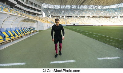 Athletic Jogger at Stadium