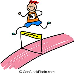athletic kid - little boy running a hurdles race - toddler...