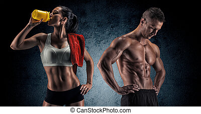 Athletic man and woman after fitness exercise -...