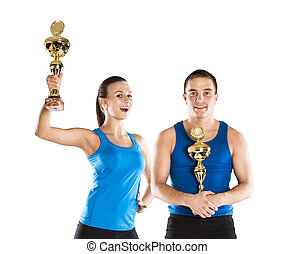 athletic man and woman - Athletic man and woman after...