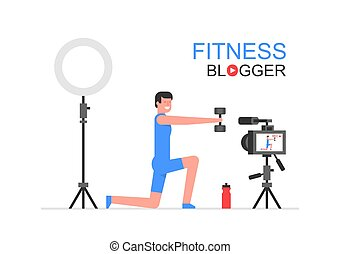 Athletic man blogger making a video. flat style. isolated on white background