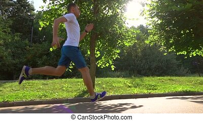 Athletic man in white tshirt running in park against sun and trees. Slow motion stedicam shot