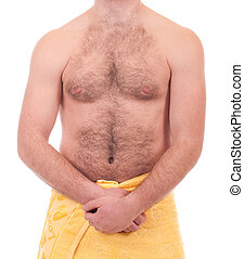 athletic man in yellow towel