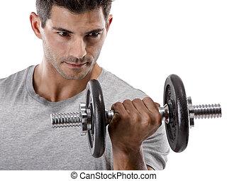 Athletic man making exercise