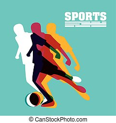 athletic man practicing soccer sport silhouette