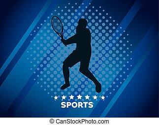 athletic man practicing tennis sport silhouette