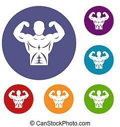 Athletic man torso icons set in flat circle reb, blue and...