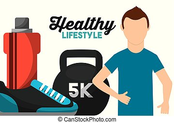 athletic man weight water and sneaker healthy lifestyle