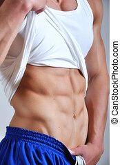 Athletic man with six-pack - Athletic man with six-pack abs...