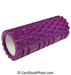 Athletic massage roller pink color isolated on white background.