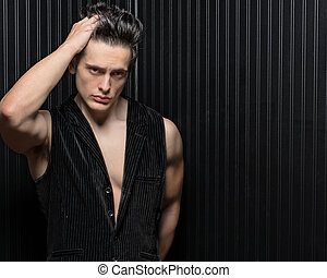 Muscular Hunk Runs Fingers In Hair