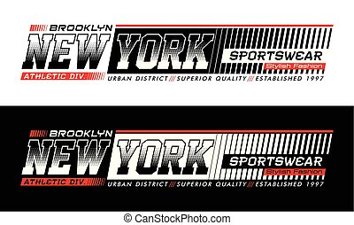 Athletic New York Brooklyn typography design with a...