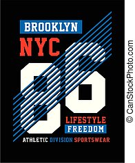 Athletic New York City, Brooklyn t-shirt graphic
