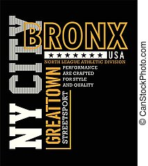 Athletic NY City, bronx typography for t-shirt print, vector...