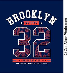 Athletic NYC Brooklyn 32 Sport typographic design for screen...