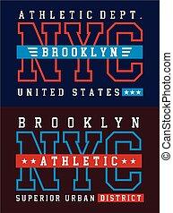 Athletic NYC Brooklyn - NYC Brooklyn Typography design for...