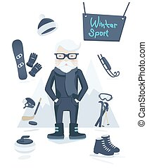 Athletic old man and winter sport