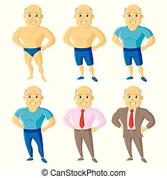 Athletic old men Set Cartoon character