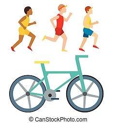 Athletic run vector man people jogging summer sport running...