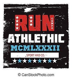 Athletic running sport university college logo, badge, emblem. For apparel