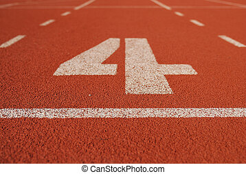 Athletic running track in stadium