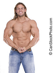 Athletic sexy male body builder with the blonde long hair. gladiator