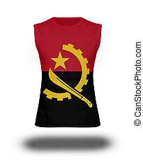 athletic sleeveless shirt with Angola flag on white background and shadow
